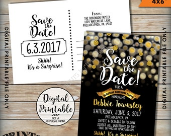 "Save the Date for a Surprise Birthday Party Black & Gold Invite, Gold Glitter Surprise Birthday Save the Date, Golden, 4x6"" Printable Files"