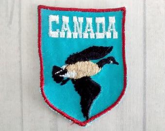 "Vintage Canada Souvenir Patch 2.75"", Canadian Goose Applique, Geese Collectible, Goose in Flight"