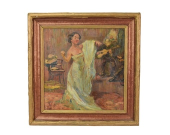 1930's Oil Painting Flamenco Dancer or Songstress in Bar with Guitarist