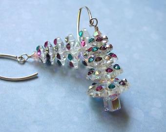 Christmas Tree Earrings, Holiday Earrings, Dangle Earrings, Swarovski Earrings, Christmas Jewelry, Holiday Jewelry, Pink Earrings