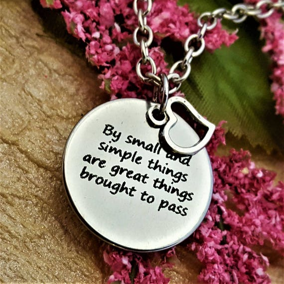 LDS Jewelry, Christian Jewelry, Gifts for LDS YW Girls Leaders, By Small and Simple Things Young Women Necklace, Inspirational Word Charms