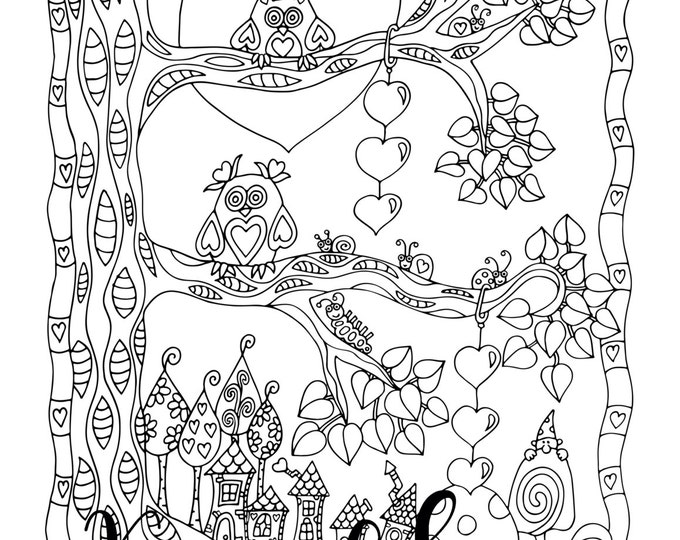Featured listing image: Valentine's- Love In The Air, 1 Adult Coloring Book Page, Printable Instant Download, Owls