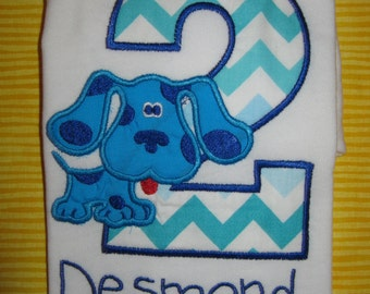 Blues Clues Themed  Personalized second Birthday Shirt