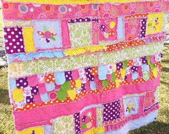 Floral Twin Size Bedding - Twin Girl Bedding - Yellow, Pink, Purple, Turquoise - Twin Cottage Chic Bedding - Children Bedding Bed Spread