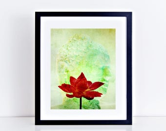"buddha and lotus fine art limited edition 10x8"" print - artwork, photography collage, art print, wall art, flower zen, green art, home decor"
