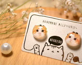 Scottish Fold cat surgical steel earrings handmade Tiny Jewelry with linen cotton bag