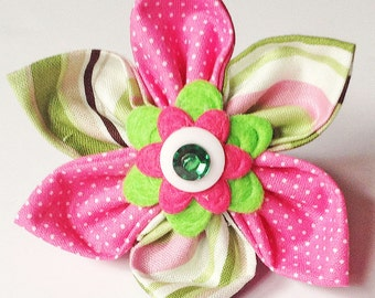 Pink and Green  Flower for Girl Dog or Cat Collar