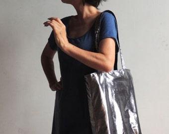 Metallic Silver Tote Bag - New York Tote Bag - Books Tote Bag - Magazines Bag - Laptop Tote Bag - Convenience Tote Bag - iPad Bag - Tote Bag