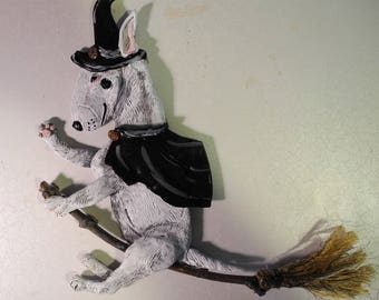 White Bull Terrier Witch riding Broom - Wall Hanging Original artwork