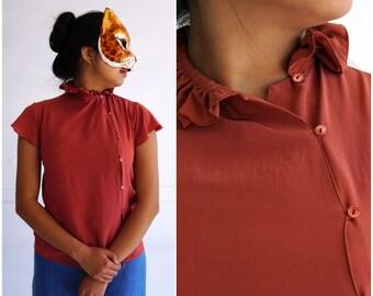 NWT Vintage 1970's 100% Silk Terracotta Asymmetric Button-up Blouse w/ High Ruffle Collar, Flutter Sleeves by Fenn Wright & Manson | Small