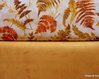 One Half Yard Bundle, 2 Piece Fabric Bundle, Cotton Fabric, Fall Fern Leaves, Medium Tone Antique Look, Sewing-Quilting-Craft Supplies