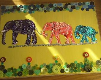 Family of three Elephants Art