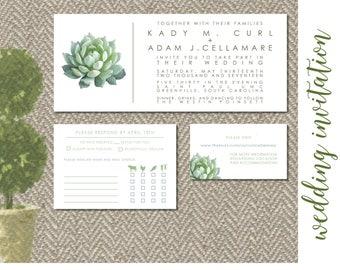 Modern Succulent Wedding Invitation - Digital File