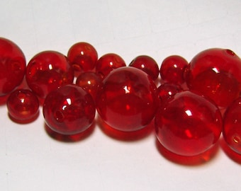 Hollow Blown Glass bubble beads in RED, set of 6 x  20mm beads