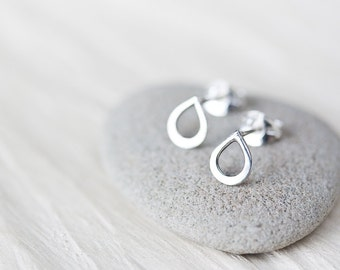 Tiny Teardrop Stud Earrings, contemporary sterling silver stud earrings, tiny raindrop earrings, mini simple modern stud earrings