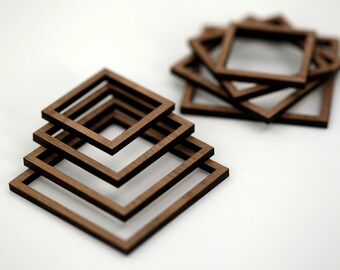 8 Concentric Square Wood Beads : Walnut