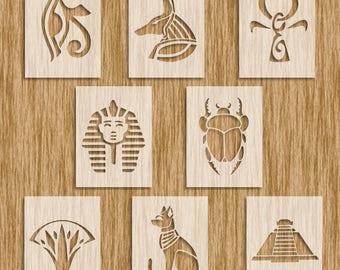 "Egyptian Images 8 Piece Set (App. 8.5"" x 11"" each) Stencils - Sku SE0104"