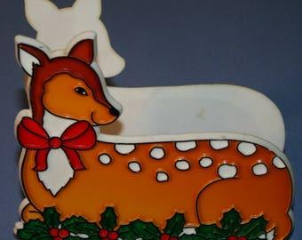 Vtg Plastic Napkin Holder TR-Chem 1985 Christmas Holiday Deer Fawn Doe