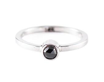 Black Diamond Ring Engagement Ring Delicate Ring Black Diamond Gold Diamond Ring White Gold Ring Diamond Engagement Rose Cut Diamond