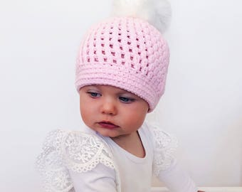 Pink Pom Pom Beanies / Winter Hat / Baby Beanie / Baby Hat / Mummy and Me Beanies