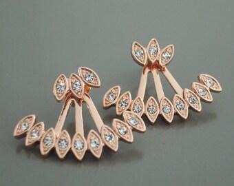 Ear Jackets - Jacket Earrings - Rose Gold Earrings - Crystal Ear Jackets - Bridal Earrings - Wedding Earrings - Stud Earrings
