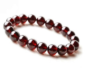 beautiful red garnet stone beads bracelet