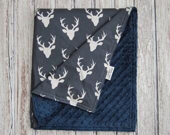 Navy Blue Deer Baby Blanket, Buck Forest Twilight Minky Baby Blanket, Woodland Baby Blanket
