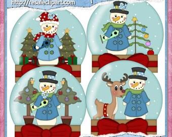 Snowman Globes 1 Clipart (Digital Download)