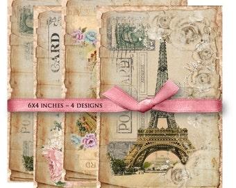 Paris Postcards - Digital Collage Sheet Download -840- Digital Paper - Instant Download Printables