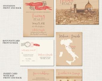 Tuscany Florence Destination wedding invitation Italy Wedding Invitation Suite - European bilingual Illustrated invitation Deposit Payment