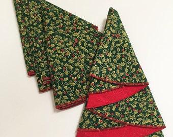 Christmas Tree Shaped Napkins, Red and Green Napkins, Christmas Napkins,