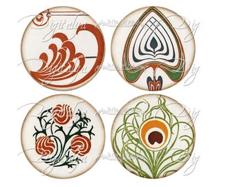 Instant Download - Art Deco Accents (2) Digital Collage Sheet - Circles 2.5 inch - 63mm - Pocket Mirror - See Promo Offer
