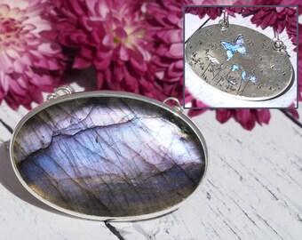 Purple Labradorite Necklace - big oval Sterling Silver Labradorite necklace - Labradorite Butterfly necklace - large purple Labradorite
