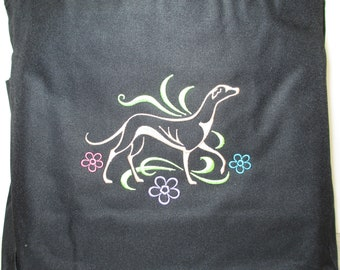 Embroidered 'Graceful Greyhound' Galgo Tote Bag in Black by JeanieSews4Fun