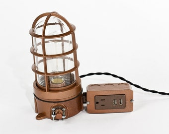 Vintage Industrial Explosion Proof Cage Edison Bulb Table Lamp  - USB Charger & Outlet