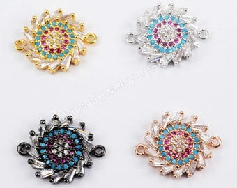 CZ Connector,Micro Pave Connector,Sun Flower Connector,Crystal Connector,Cubic Zirconia,Jewlery supplies,Beads Charms,Jewelry making,WX660