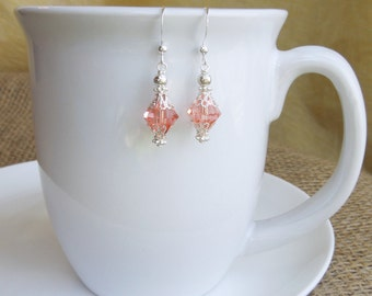 Coral Crystal Bridesmaids Earrings - Swarovski Crystal Dangle Bridesmaids Mother of Bride Bridal Wedding Silver Beaded Handmade