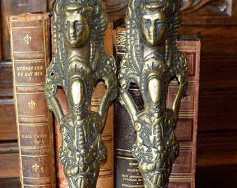 Antique Pair French Brass Figural Female Pediments Furniture Mount Hardware Ornate Design