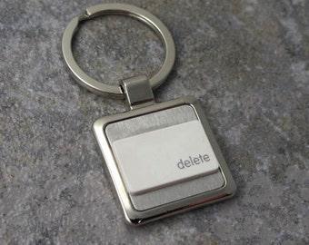 Apple, Mac computer, delete Key-Ring in white, key chain, keys, recycled, birthday, anniversary, wedding, gift