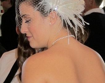 Bridal Feather Fascinator- Rhinestone Hair clip, Bridal Headpiece, Wedding Veil, Wedding Fascinator, Feather Fascinator