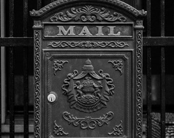 Most Popular Print! Antique Mailbox in San Francisco - postal mail black and white photograph