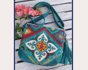 Genuine Leather and Canvas Crossbody Purse, Tribal Design, Handmade, Zipper Top, Handbag or Shoulder Bag, Teal