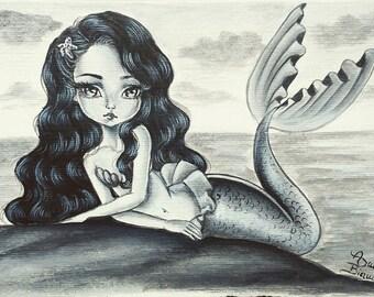 Original Acrylic Painting Mermaid Art Big Eyes Girl Black and White