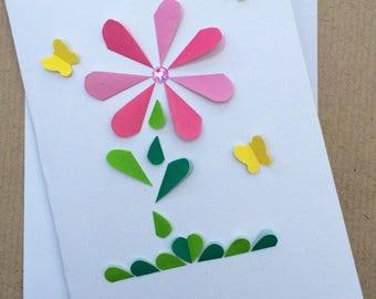 Flower Hearts Garden Card - Cute - Mothers Day - Get Well Soon - Her Card - Mum - Birthday Card - Pink Green - Handmade