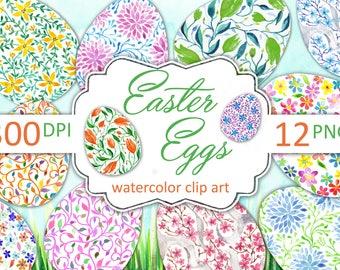 Easter eggs clip art. Watercolor Easter eggs, Instant download Easter clipart.