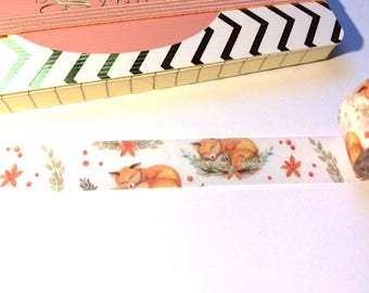 Fox washi tape, cute washi tape, animal washi, washi tape, planner, journal, floral washi, floral washi tape, gift-wrapping, scrapbooking