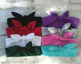 Colors!! Headband bandana top knot hair tie bow made by FlyBowZ!