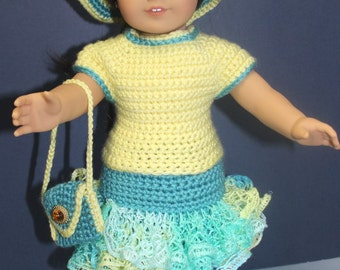 A complete hand-crocheted Springtime Easter outfit for an 18 inch doll