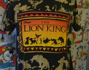 Vintage 90's Walt Disney The Lion King 1994 Movie Promo dope hip hop original all over print T Shirt Adult size XL