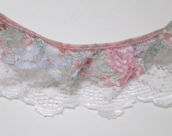 Double Ruffled Lace 4-12 yd Floral Lace Trim White Pink Green Lace Ruffles Gathered Sewing Yardage Lot Garters Home Decor Boho Square Dance